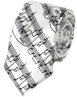 Tie - Music Notes White