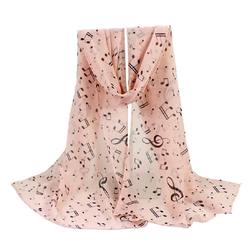 Beige Scarf with Musical Notes