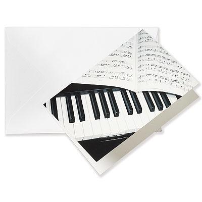 Carte de V?ux - Petit Modèle - Piano   Enveloppe