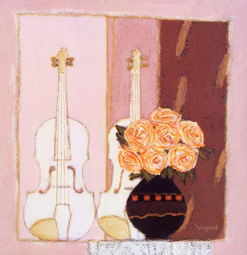 Carte Postale d\'Art `Roses et Violons`