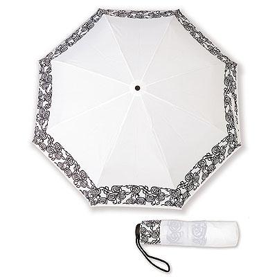 Parapluie de poche Blanc - Liseré Clef de Sol Noir