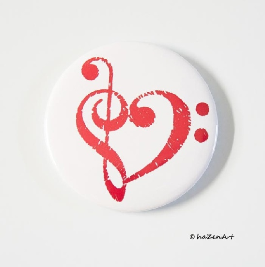 Magnet Coeur de Cles Blanc et Rouge [Magnet Heart of Keys White and Red]