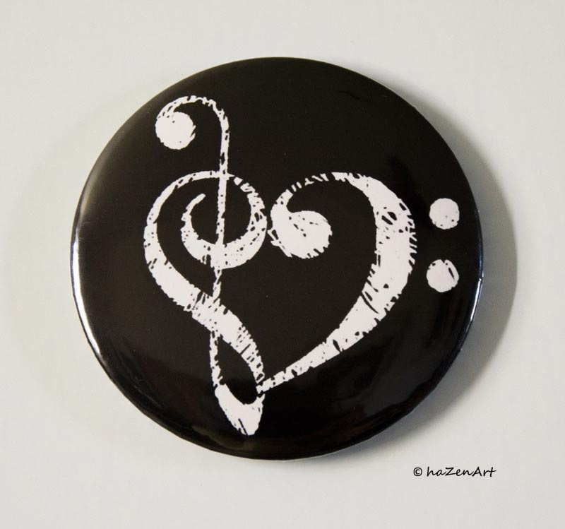 Magnet Coeur de Cles Noir et Blanc [Magnet Heart of Keys Black and White]