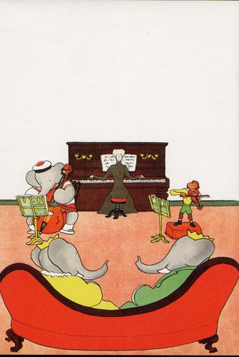 Carte Postale d\'Art `Un Concert pour Babar` extrait de Le Roi Babar, 1933