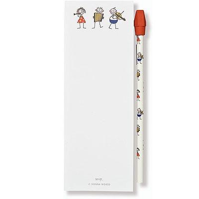 Bloc-Notes - Format Allongé Magnétique - `Little Philharmonics`   Crayon à Papier / Gomme