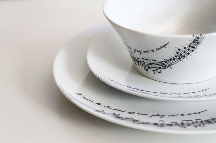 Vaisselle - Set de 2 Sous-Tasses + 1 bol ?Tafelmusik? [Dinnerware ?Tafelmusik? ? Set of 3 Pieces]