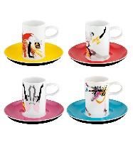 Set de 4 Tasses à Café and 4 Soucoupes - Biscuit de Porcelaine - Tchaikovsky