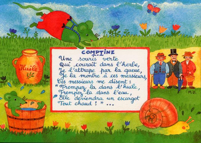 Carte Postale d\'Art `Une Souris Verte`
