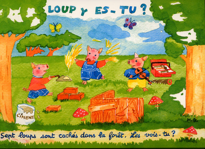 Carte Postale d\'Art `Loup y es-tu ?`