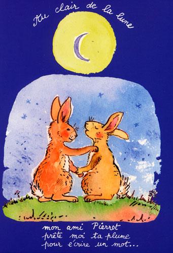 Carte Postale d\'Art `Au Clair de la Lune`