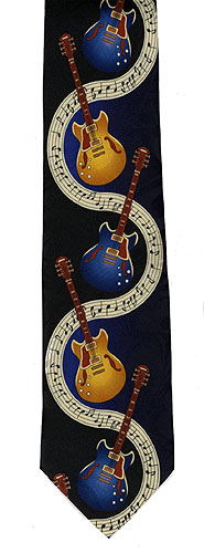 Polyester Tie : Guitars On Music
