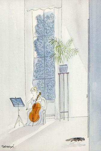 Carte Postale d\'Art `Le Chat de la Violoncelliste` 1987