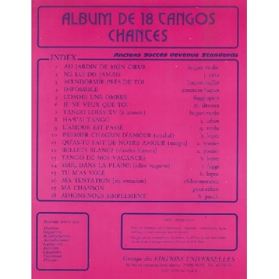 Album De 18 Tangos Chantés