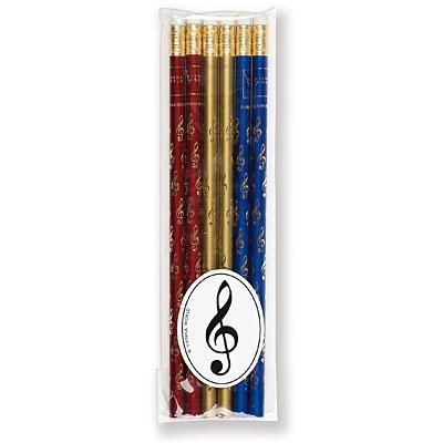 Lot de 6 Crayons à Papier - Clef de Sol (Rouge / Bleu / Or)