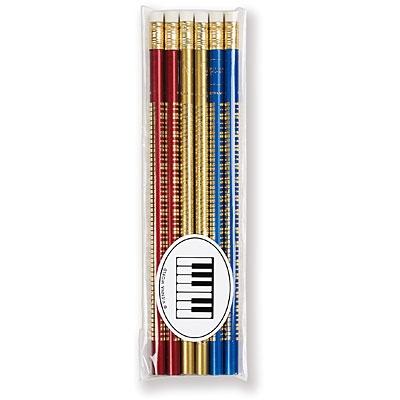 Lot de 6 Crayons à Papier - Piano (Rouge / Bleu / Or)