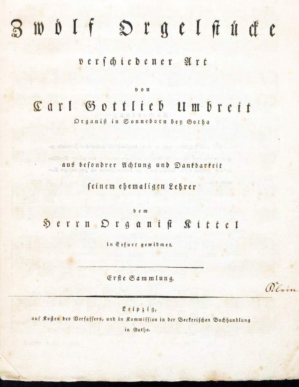 Umbreit, Karl Gottlieb: Fantasia für die volle Orgel in D