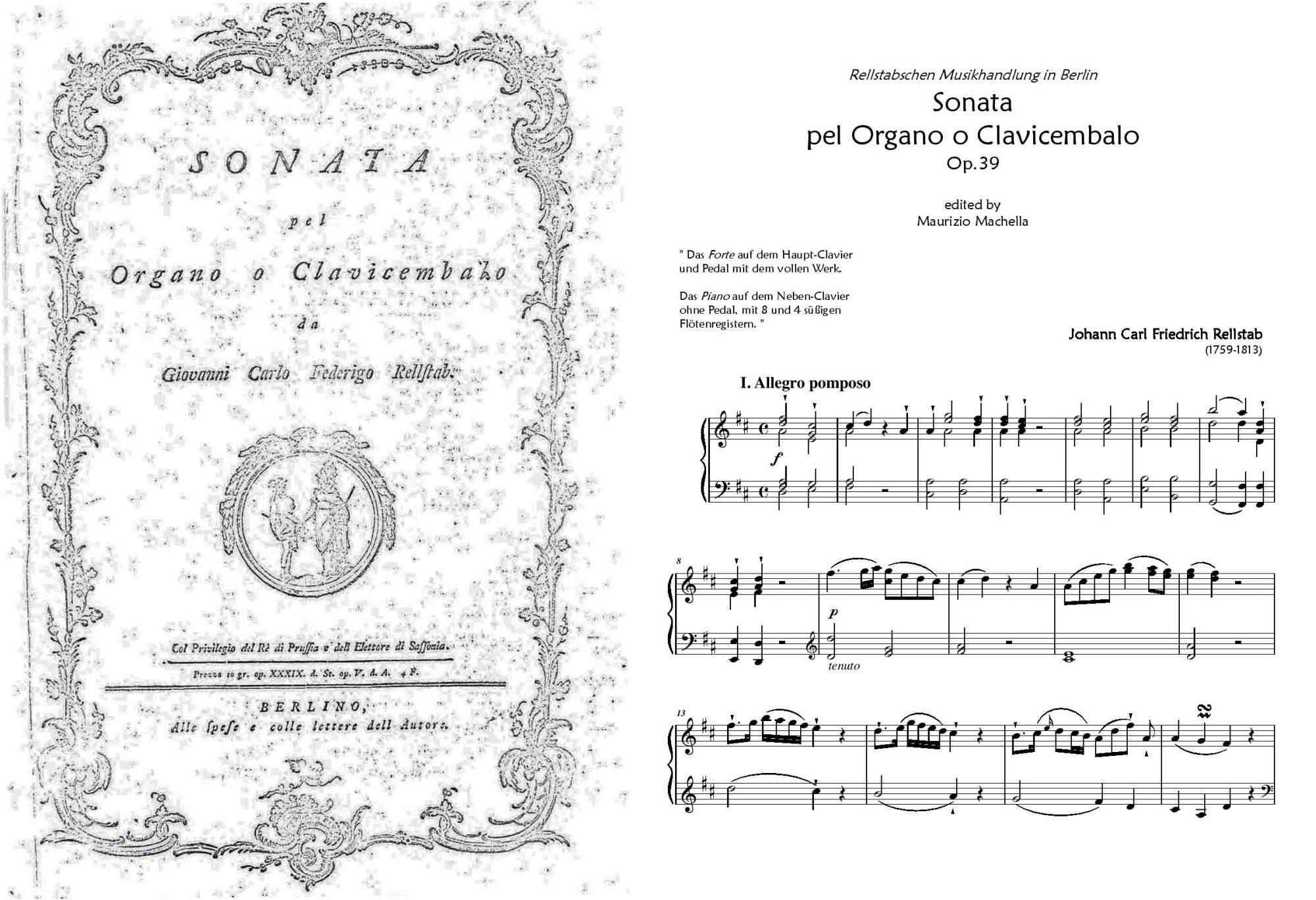 "Rellstab, Johann Carl Friedrich: ""Sonata pel Organo o Clavicembalo"""