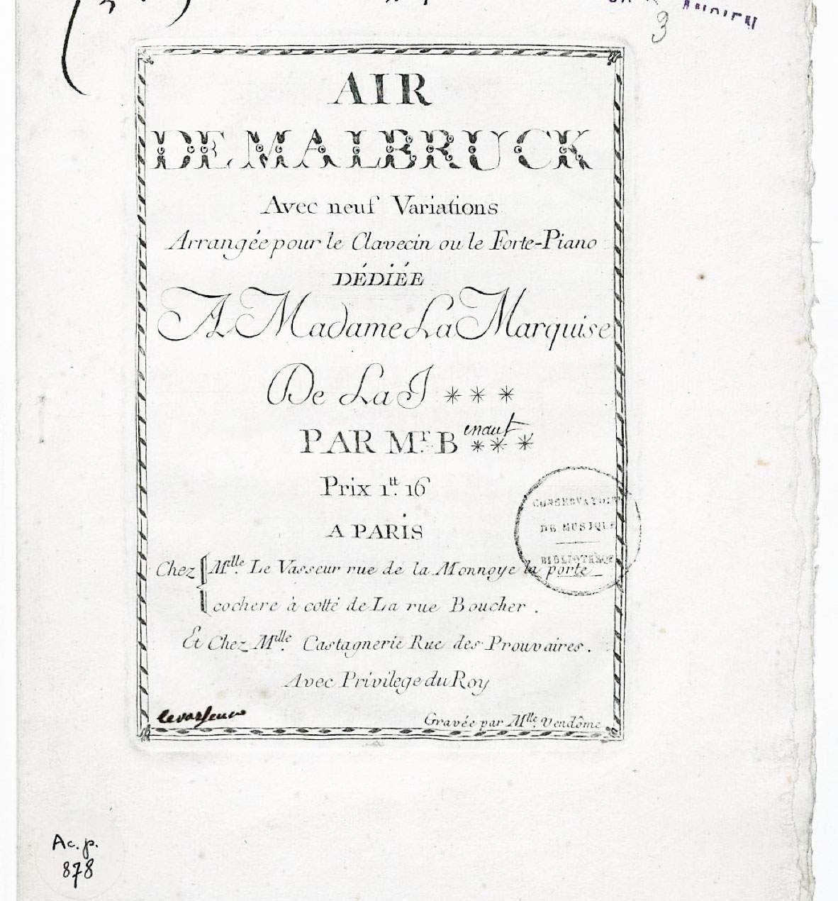 Benaut, Josse-François-Joseph: Air de Malbruck avec neuf Variations Arrangé pour l