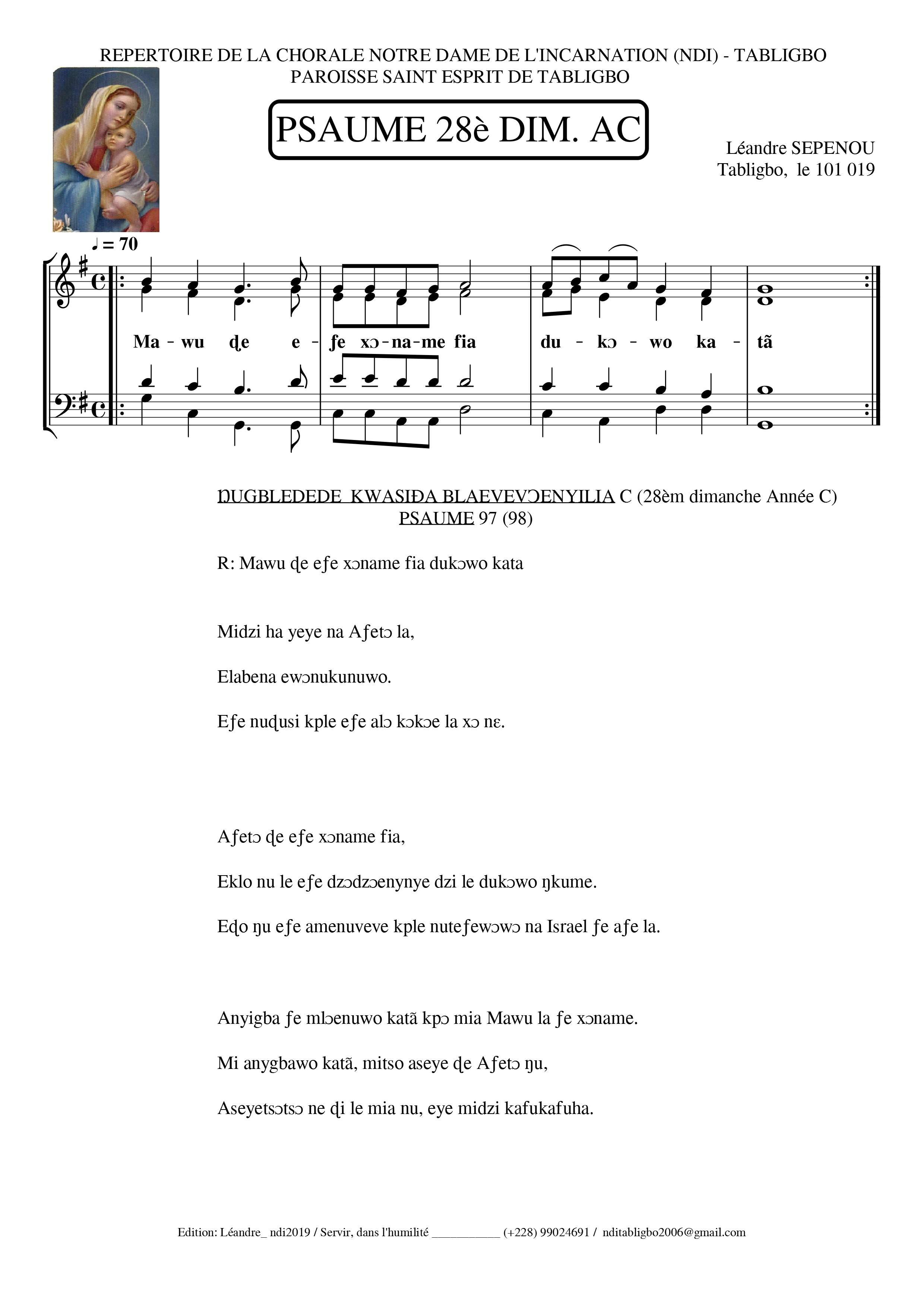 SEPENOU, Léandre: Psaume 97 (98)