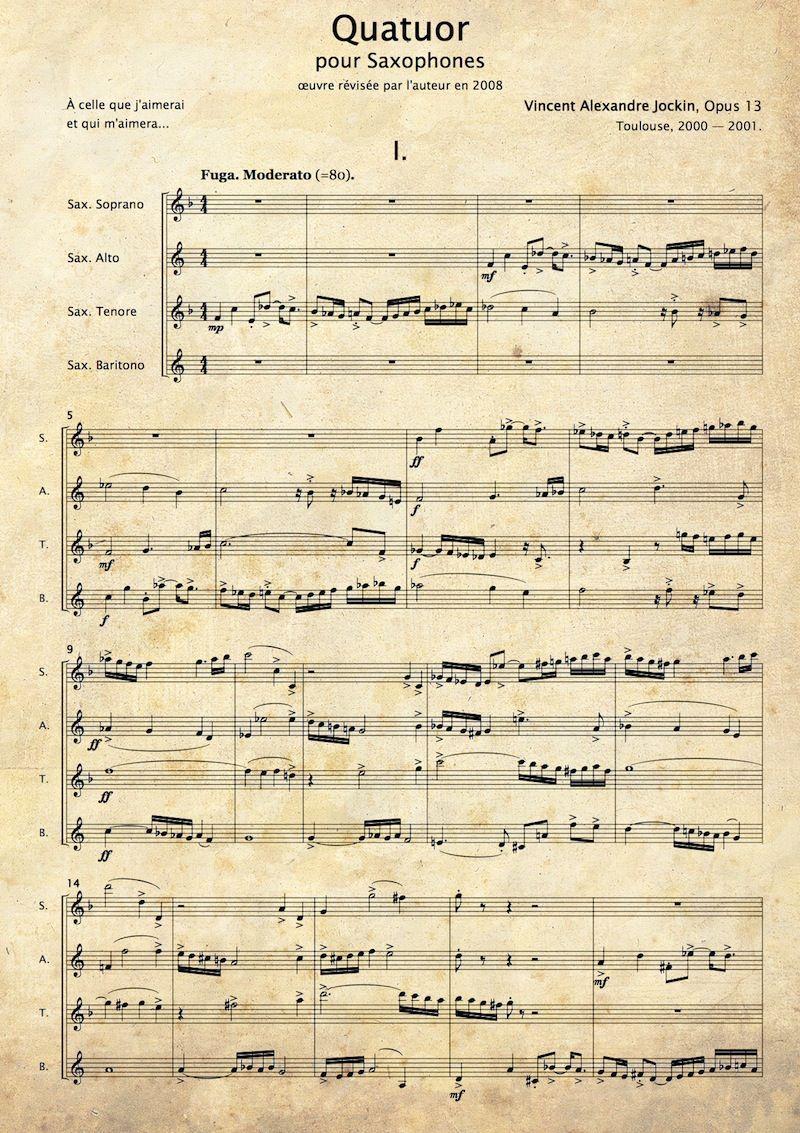 JOCKIN, Vincent Alexandre: Quatuor pour Saxophones